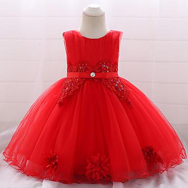 hesapli Bebekl Kıyafetleri-Bebek Genç Kız Actif / Temel Parti / Doğum Dünü Solid Dantel Kolsuz Diz-boyu Pamuklu Elbise YAKUT