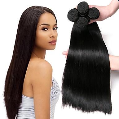 4 πακέτα Περουβιανή Ίσιο Φυσικά μαλλιά Υφάνσεις ανθρώπινα μαλλιών δέσμη μαλλιών Εξτένσιον από Ανθρώπινη Τρίχα 8-28 inch Φυσικό Χρώμα Υφάνσεις ανθρώπινα μαλλιών Μεταξένιο Ομαλό Hot Πώληση
