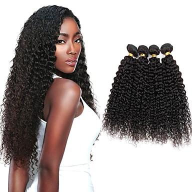 4 paketića Indijska kosa Kinky Curly Ljudska kosa Ljudske kose plete Bundle kose Jedan Pack Solution 8-28 inch Prirodna boja Isprepliće ljudske kose Nježno Svilenkast Prirodno Proširenja ljudske kose