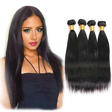 4 paketića Indijska kosa Ravan kroj Ljudska kosa Ljudske kose plete Styling kose Bundle kose 8-28 inch Prirodna boja Isprepliće ljudske kose Svilenkast Žene Najbolja kvaliteta Proširenja ljudske kose