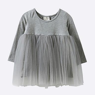 povoljno Odjeća za bebe-Dijete Djevojčice Osnovni Jednobojni Dugih rukava Haljina Crn / Dijete koje je tek prohodalo