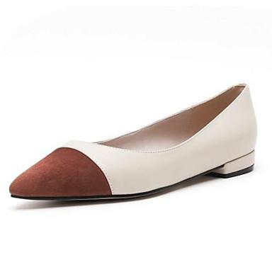 1a0455aa6ad5f نسائي Leather نابا الصيف اخفاف كعب منخفض حذاء براس مدبب زهري   بني داكن  7075712 2019 –  54.99