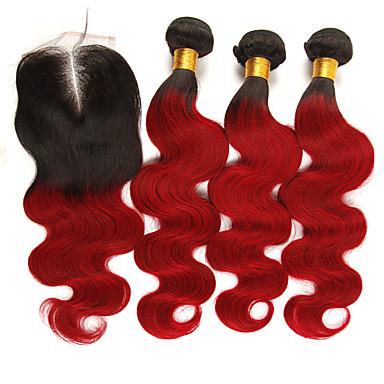povoljno Ekstenzije od ljudske kose-3 paketi s zatvaranjem Brazilska kosa Tijelo Wave Remy kosa Ekstenzije od ljudske kose Kosa potke zatvaranje 10-24 inch Isprepliće ljudske kose Nježno Najbolja kvaliteta Novi Dolazak Proširenja