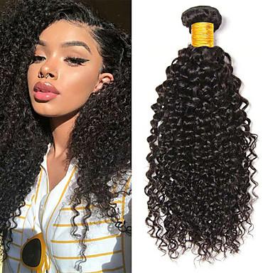 6 paketića Kinky Curly Ljudska kosa Netretirana  ljudske kose Headpiece Ljudske kose plete Styling kose 8-28 inch Prirodna boja Isprepliće ljudske kose Svilenkast Jednostavan dressing Rasprodaja / 8A