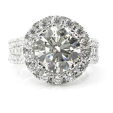 billige Motering-Dame Ring Micro Pave Ring 1pc Hvit Legering Sirkelformet Europeisk trendy Romantikk Bryllup Stevnemøte Smykker Klassisk HALO simulert Søtt