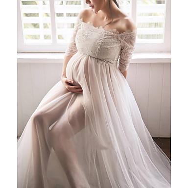 preiswerte Umstandsmode-Damen Schwangerschaft Grundlegend Hülle Kleid Solide Maxi