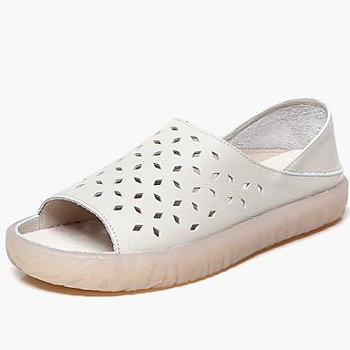 levne Dámské sandály-Dámské Sandály Rovná podrážka S otevřeným palcem Nappa Leather Vintage / Na běžné nošení Léto Světle modrá / Bílá