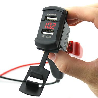 billige Bil Elektronikk-5v 4.2a billader dual usb-porter ledet digital display voltmeter med ledninger og isolerte varmekrympekontakter for lastebil motorsykkel suv