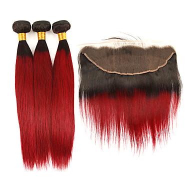 povoljno Ekstenzije od ljudske kose-3 paketi s zatvaranjem Brazilska kosa Ravan kroj Remy kosa Ekstenzije od ljudske kose Kosa potke zatvaranje 10-24 inch Isprepliće ljudske kose Modni dizajn Nježno Najbolja kvaliteta Proširenja