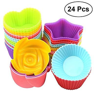 24pcs šareni silikon cupcake linijski muffin čaša ruže srce okrugli zvijezda čokolada kalup