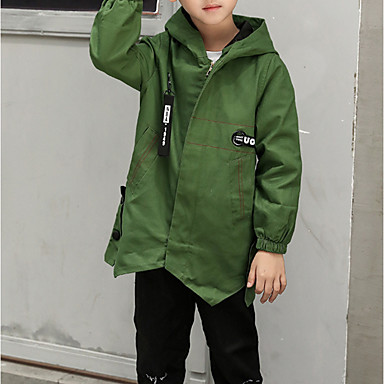 cheap Boys' Jackets & Coats-Kids Boys' Basic Daily Solid Colored Long Sleeve Regular Cotton Trench Coat Green
