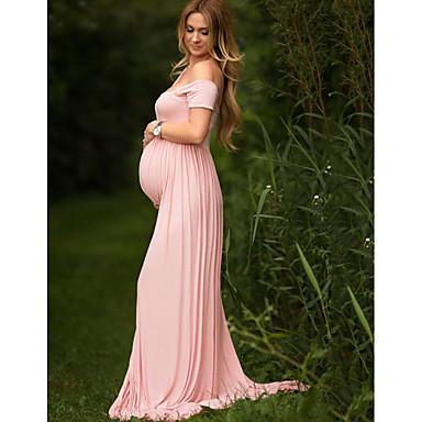 저렴한 임부복-여성용 맥시 임산부 퍼플 옐로우 드레스 우아함 일상 칼집 솔리드 원사이즈