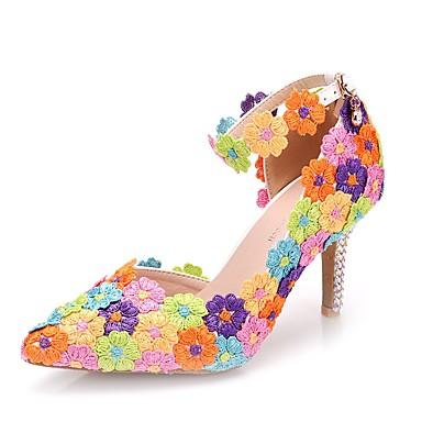 28c87b0ad3a Women s Lace   PU(Polyurethane) Spring   Summer Sweet Wedding Shoes  Stiletto Heel Pointed Toe Rhinestone   Buckle Rainbow   Camouflage Color  7074607 2019 – ...