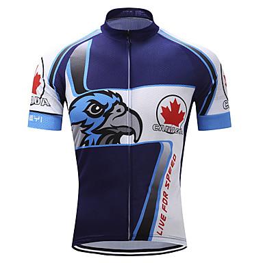 TELEYI Muškarci Kratkih rukava Biciklistička majica 100% poliester Terilen Blue / Bijela Orao Bicikl Biciklistička majica Majice Brdski biciklizam biciklom na cesti Ovlaživanje Quick dry