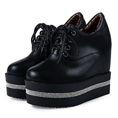 1d0f40a11ad [$26.99] Γυναικεία PU Φθινόπωρο Αθλητικά Παπούτσια Κρυφό τακούνι Λευκό /  Μαύρο
