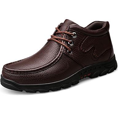 Muškarci Čizme za snijeg Mekana koža Jesen zima Klasik / Ležerne prilike Čizme Ugrijati Čizme do pola lista Crn / Braon / Vanjski / Fashion Boots / Vojničke čizme