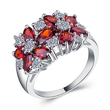 Žene Prsten Kubični Zirconia 1pc Crvena Zelen Plava Kamen Circle Shape Europska pomodan Romantični Vjenčanje Spoj Jewelry Klasičan Slatko
