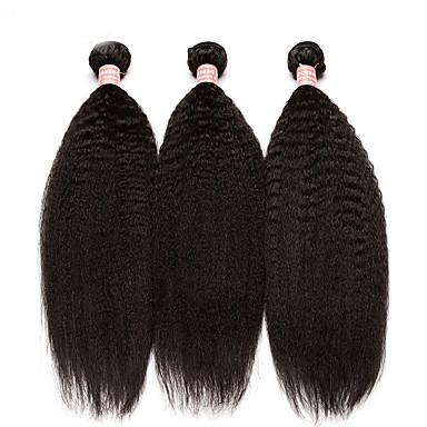 3 paketa Brazilska kosa Kinky Ravno Ljudska kosa Netretirana  ljudske kose Ljudske kose plete tkati 10inch-24inch Natural Prirodna boja Isprepliće ljudske kose Odor Free Nježno Rasprodaja Proširenja