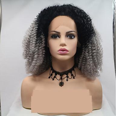 Prednja perika od sintetičkog čipke Afro Kinky Stil Stepenasta frizura Lace Front Perika Siva Sintentička kosa 12 inch Žene Žene Crna Siva Perika Kratko Sylvia
