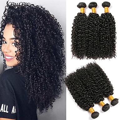 halpa Yksi pakkaus ratkaisu-3 pakettia Hiuskudokset Brasilialainen Kinky Curly Hiukset Extensions Remy-hius 100% Remy Hair Weave -paketit 300 g Hiukset kutoo Aitohiuspidennykset 8-28 inch Luonnollinen väri Luonto musta Shedding