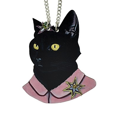 levne Dámské šperky-Dámské Náhrdelníky s přívěšky Dlouhé Kočka dámy Jednoduchý Módní Dřevěný Dřevo Slitina Černá 70 cm Náhrdelníky Šperky 1ks Pro Večírek Škola