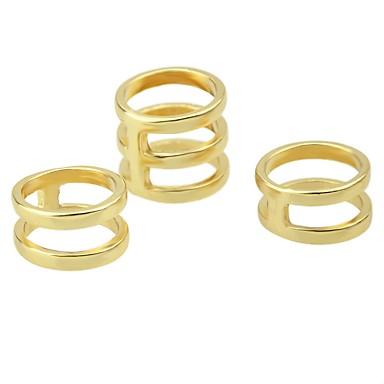 levne Dámské šperky-Dámské Sada kroužků Midi prsteny Stohovatelné kroužky Kubický zirkon 3ks Zlatá Stříbrná Slitina dámy Geometrik Základní Denní Rande Šperky Roztomilý