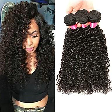 cheap Human Hair Weaves-3 Bundles Peruvian Hair Kinky Curly Unprocessed Human Hair 100% Remy Hair Weave Bundles 300 g Headpiece Natural Color Hair Weaves / Hair Bulk Hair Care 8-28 inch Natural Color Human Hair Weaves