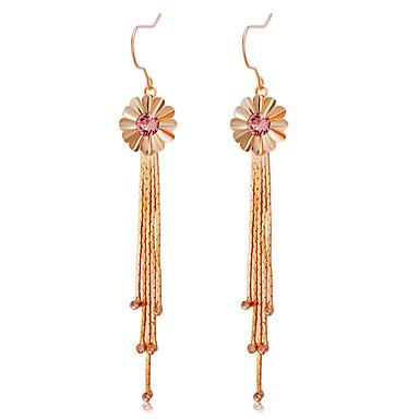 Žene Pink Kristal Viseće naušnice Long Cvijet Stilski Umjetnički Moda Pozlata od crvenog zlata Imitacija dijamanta Naušnice Jewelry Rose Gold Za Party Formalan 2pcs