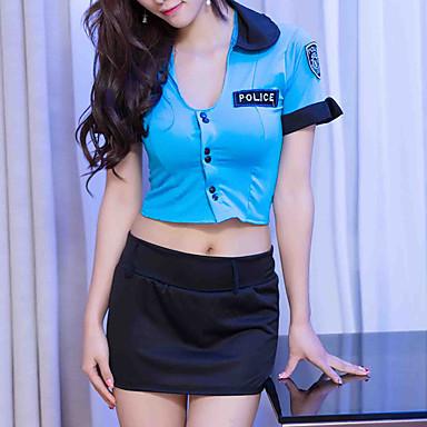 Žene Super seksi Seksi spavaćica / kineska haljina Noćno rublje - Naborano, Cosplay nošnje Color block Plava One-Size / Duboki U
