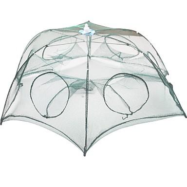 preiswerte Fischnetze-Faltendes Regenschirm-Fischen-Krabben-Garnelen-Fallen-Netz 0.65 m Nylon 3*3 mm Tragbar Leichte Bedienung
