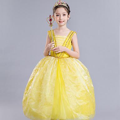 Belle Cosplay Costume Kid S Girls Dresses Mesh Christmas Halloween
