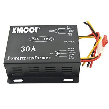 billige Strøminverterer-xincol® kjøretøy bil dc 24v til 12v 30a strømforsyning transformator konverter-svart