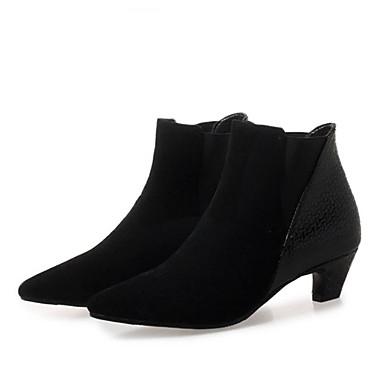 Žene Čizme Kockasta potpetica Krakova Toe Brušena koža Čizme gležnjače / do gležnja slatko / minimalizam Zima Crn