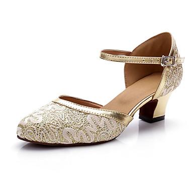 Žene Plesne cipele Čipka / Saten Moderna obuća Blistati Štikle Debela peta Moguće personalizirati Zlato / Seksi blagdanski kostimi / Vježbanje