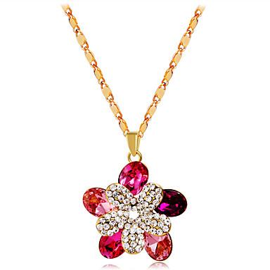 Žene Pink Kristal Ogrlice s privjeskom Klasičan Cvijet Romantični Moda Elegantno Pozlaćeni Imitacija dijamanta Pink 43 cm Ogrlice Jewelry 1pc Za Zabava / večer Dnevno