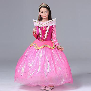Aurora Haljine Cosplay Nošnje Djeca Djevojčice Crtići Halloween Božić Halloween Dječji dan Festival / Praznik Polyster Pink Karneval kostime Princeza