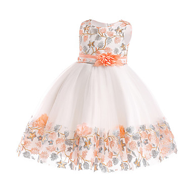 cheap Baby & Kids-Kids Girls' Basic Sweet Party Holiday Floral Patchwork Patchwork Sleeveless Knee-length Dress White