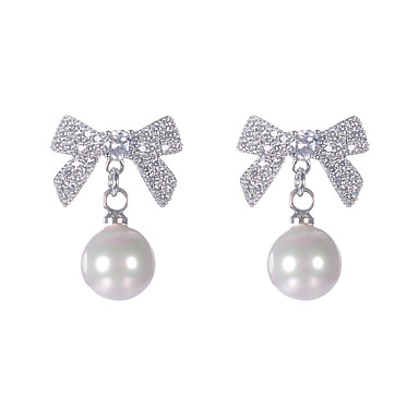 levne Dámské šperky-Motýlí styl Náušnice - Napodobenina perel, Zirkon, S925 Sterling Silver Motýl Sladký, Módní, Elegantní Zlatá / Stříbrná Pro Párty Dar Dámské / 1 Pair