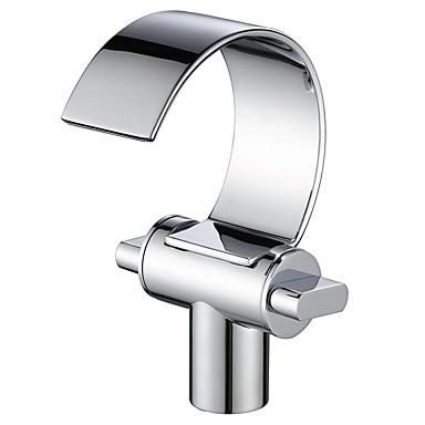 Kupaonica Sudoper pipa - Waterfall Chrome Središnje pozicionirane Dvije ručke jedna rupaBath Taps / Brass