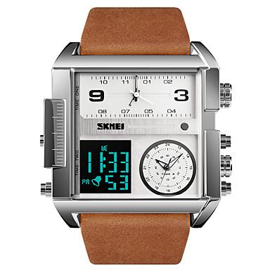 levne Pánské-Pánské Sportovní hodinky Vojenské hodinky Digitální hodinky Digitální Pravá kůže Černá / Hnědá 30 m Voděodolné Alarm Kalendář Analog - Digitál Luxus Módní - Černá Hnědočerná Black / Gray Jeden rok