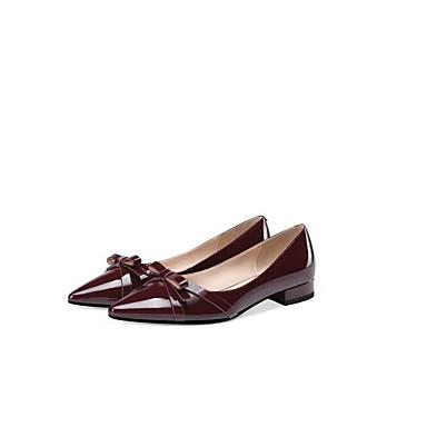 levne Dámské boty s plochou podrážkou-Dámské Nappa Leather Léto Bristké Bez podpatku Nízký podpatek S uzavřeným palcem Černá / Fialová
