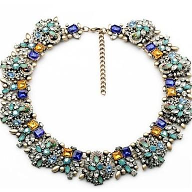 Žene Više boja Ogrlica Debeli lanac Stilski Klasik Šarene Umjetno drago kamenje Legura Plava 47 cm Ogrlice Jewelry 1pc Za Party Dnevno