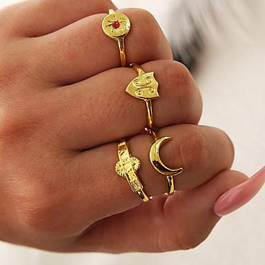 billige Motering-Dame Ring Set Midi Ring Multi-fingerring Kubisk Zirkonium 4stk Gull Strass Legering C-form damer Enkel Unikt design Gave Daglig Smykker Retro Halvmåne Kul
