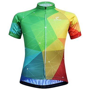 03d062e15 JESOCYCLING Women s Short Sleeve Cycling Jersey - Green   Yellow Gradient  Bike Jersey Top Breathable Moisture Wicking Quick Dry Sports 100% Polyester  ...