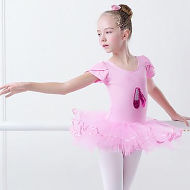 2299 Ballet Vestidos Chica Entrenamiento Rendimiento Elastán Licra Apliques Fajas Cintas Manga Corta Vestido