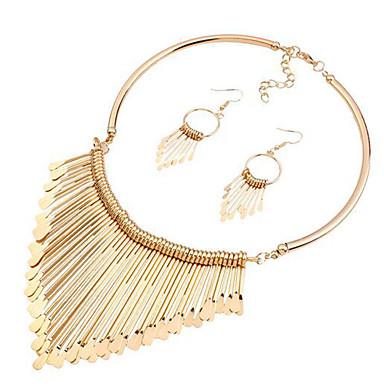 Γυναικεία Συνθετικό Diamond Σετ Κοσμημάτων Μοντέρνο κυρίες Υπερμεγέθη Σκουλαρίκια Κοσμήματα Χρυσό Για Πάρτι Γαμήλια Τελετή / Κολιέ
