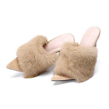 cheap Autumn Mules & Slippers-Women's Rabbit Fur / Suede Spring &  Fall / Spring & Summer Sweet / Minimalism Clogs & Mules Stiletto Heel Peep Toe Feather Yellow / Fuchsia / Almond
