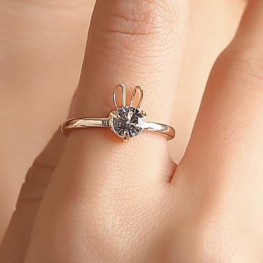 billige Motering-Dame Ring Tail Ring 1pc Gull Sølv Lysebrun Kobber Strass Sirkelformet damer Personalisert Unikt design Gave Daglig Smykker Hul Kanin Søtt Heart