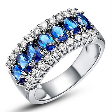 billige Motering-Dame Ring Kubisk Zirkonium liten diamant 1pc Grønn Rosa Kobber Sirkelformet Europeisk trendy Romantikk Bryllup Stevnemøte Smykker Klassisk Søtt