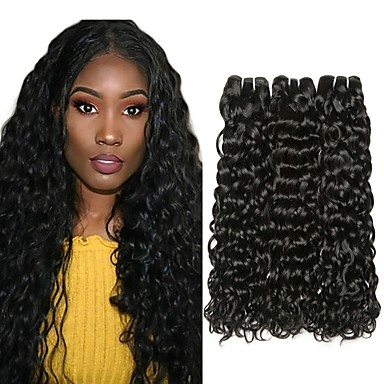 3 Bundler malaysisk hår Vand Bølge Menneskehår Menneskehår, Bølget Udvidelse Bundle Hair 8-28 inch Naturlig Farve Menneskehår Vævninger Silkeagtig Glat Bedste kvalitet Menneskehår Extensions